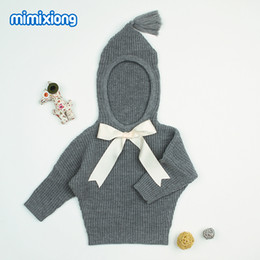 cardigan con cappuccio Sconti Grey Hooded Designer Sweater for Toddler Girl Autumn Newborn Baby Sweaters Clothes Casual Infant Knitting Jumper Kids Cardigans