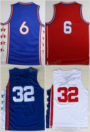 Wholesale Fan Color - High Top 6 Dr J Julius Erving Jersey Men Sale Throwback 32 Julius Erving Basketball Jerseys For Sport Fans Team Red Blue White Color Quality