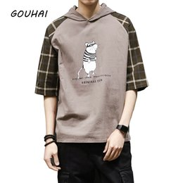 Wholesale Hooded Plaid Shirt Men - Fashion Hooded T Shirts Men Cotton Short Sleeve Plaid Loose Funny Man T-Shirt Summer Clothes Men Tshirt Tops Plus Size M-5XL