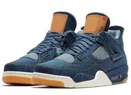 Wholesale Jeans Laces - 2017 4s Denim Blue Jeans Travis Basketball Shoes Men 4s Denim LS Blue Jeans Sports Shoes Sneakers High Quality With Box