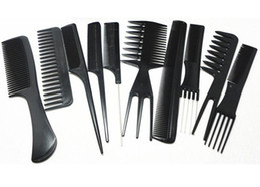2019 onda mágica atacado escova Atacado 10 pçs / set Salão Profissional Pentes Set Preto Plástico Barbeiros Hair Styling Tools Cabeleireiro Salão VH096