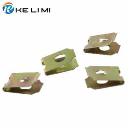 Broche de rosca online-100 piezas de arandelas de tornillo de automóvil que retienen broches fijos automotrices tipo U clips metálicos abrazaderas de junta de tornillo de 3 mm