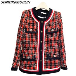 Argentina 2018 Otoño Invierno Chaqueta de Tweed Abrigo de Cuello Redondo de Manga Larga Red Plaid Patchwork de Lana Elegante Runway Abrigos Abrigos L18100706 cheap long red winter coats Suministro