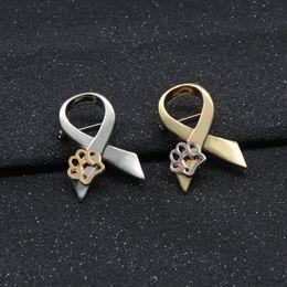 2019 cuori d'ottone d'ottone Fashion New Dog Paw Print Pins Spilla Pin Up Oro Argento Per le donne Suit Cappelli Clip Dog Lovers Regali