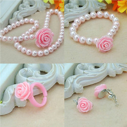 Wholesale Kids Pearl Jewelry Sets - Fashion Jewelry Imitation Necklace Bracelet Ring Ear Clips Set Pearls Kids Girls Child Flower Shape