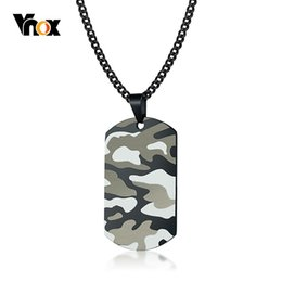 cool men chains pendants Promo Codes - Vnox Cool Camouflage Dog Tag Necklace for Men Stainless Steel Soldier Army Male Pendant Collar Jewelry Free Chain 24