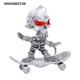 Wholesale Funny Key Holder - Skateboard Skull Rubber Keychain Skeleton Funny Chain Bag Car Key Holder Keyring