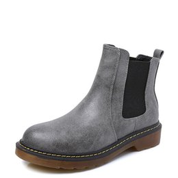Wholesale Yellow Motorcycle Boots - 2018 Spring Fall Black Grey Women PU Leather Boots Round Toe Oxford Ankle Boot Ladies Martin Motorcycle Boots Shoes Women Plus Size 34-43