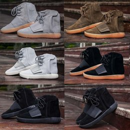 Wholesale fashion shoe charms - Triple Black Boost 750 Kanye West Shoes Glow In The Dark 750 Boost Men Boots Sports Shoes Sneakers XZ228
