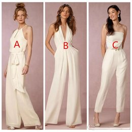 f0c8ad4346f 2018 Jumpsuit Bridesmaid Dress for Wedding With Halter Plunging V-neck  Backless Wedding Guest Dresses Party Formal Gown discount red chiffon  jumpsuit