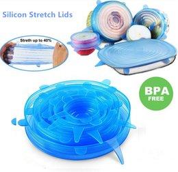 Coprire i piatti online-6 pezzi / set silicone coperchi elasticizzati coperchio universale Involucro di cibo in silicone coperchio del vaso coperchio in silicone padella di cottura per frutta verdura / tazze piatti