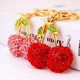 Wholesale Fruit Crystals - Cute Cherry Keychains Fruit Leaves Crystal Charm Key Chain Purse Handbag Car Key Keyring Keychain Accessories 2 Colors D961Q