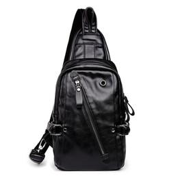 Men PU Leather Sling Chest Bag Travel Cross Body Messenger Shoulder Pack Button Open LeatherTheftproof  Bags Black от