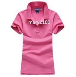 Женская Polos классический бренд отложным воротником женщины поло рубашка с коротким рукавом футболки polos большая лошадь женщины тройники 100% хлопок от Поставщики томми поло
