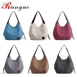 сумки для покупок Скидка Women's Canvas Handbags High Quality Female Hobos Single Shoulder Bags Vintage Solid Multi-pocket Ladies Totes Bolsas