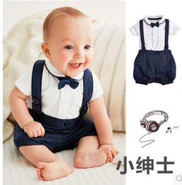 Wholesale Gentleman Style Boy Clothes - 2018 new style baby boy clothes gentleman short sleeve Bow+T shirt + pants 3 pcs newborn clothes infant suit Wedding