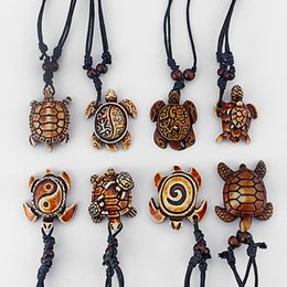 Wholesale Tribal Bone - 8pcs Mixed Styles Ethnic Tribal Faux Yak Bone Sea Turtle Pendants Necklace Adjustable