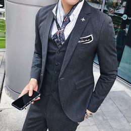 Outwear homem coreano on-line-2018 Outono Inverno Homens Coreano Moda Casual Business Fino Irregular Tarja Ocidentais-estilo Terno de Manga Longa Blazer Casaco Outwear