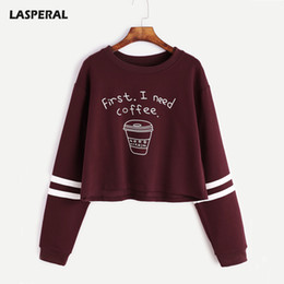 Wholesale long sleeve black crop top - Lasperal Letter Print First I Need Coffee Hoodies Women 2018 Autumn Fashion Long Sleeve Casual Cropped Sweatshirt Pullover Tops