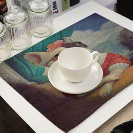 Wholesale Western Napkins - Cartoon Dog Printed Napkin Linen Style Plate Coffee Table Decoration Western