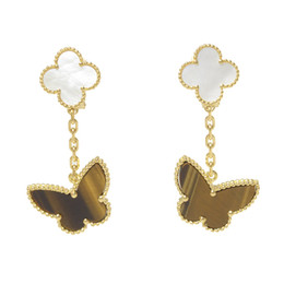 Wholesale Healthy Fashion - V Butterfly Earring Paris clover Stud Tiger's eye clover earring Lucky Healthy wealth Love Fashion design Women wedding party stud