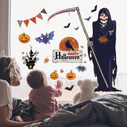 Хэллоуин God of Death Scythe Мультфильм Стикеры стены Тыквенные огни Crow Castle Bat Spider Diy Съемный фестиваль Ужасы от