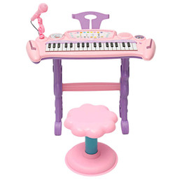 Teclado musical de juguete online-Pink 37 Key Kids Electronic Keyboard Piano Organ Toy / Micrófono Música Play Kids Regalo educativo para niños