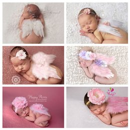 Wholesale Newborn Crochet Hat White - 0-6M Newborn White Angel Photo Props Baby Girls Angel Wings Wing Set Feather Newborn Photography Props