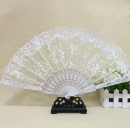 Wholesale lace umbrella wholesalers - 2018 Lace Floral Wedding Fans Handmade Chinese Popular wing chun fan dance White rose bud silk fan Bridal Accessories