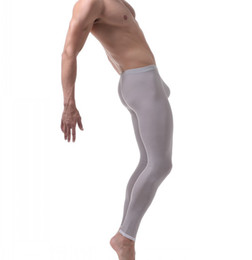 Wholesale Thin Tights - underwear men leggings warm pants ultra-thin ice silk home panties long johns mens sexy leggings cueca masculina tight pants men