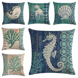 2019 almohada de fibra hueca funda de cojín marino vintage coral seafan sofá silla cojín funda de almohada caballo de mar cojines náutico almofada