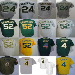 Wholesale womens white shorts - 2016 New Cheap Oakland Mens Womens Kids #4 Coco Crisp 24 Ricky Henderson 52 Yoenis Cespedes Grey White yellow Green Baseball Jerseys
