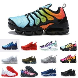 Wholesale band lighting - 2018 New Original vapormax plus tn Men Casual Shoes Olive In Metallic White Silver for Tn Vapormax off Black Air Basket Requin Chaussures