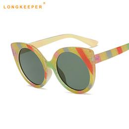 блестящие очки Скидка Блеск Радуга Кошачий глаз Солнцезащитные очки диагональ полоса ретро солнцезащитные очки Мода улица стрелять очки мужчины и женщины металлические солнцезащитные очки