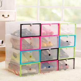 Wholesale Shoe Organizer Cabinet - 1 pc Transparent Plastic Shoe Box DIY Multi-function Foldable Strong Storage Dust-proof Travel Portable Shoe Cabinet Accessories