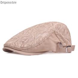2019 casquete boina Ditpossible 2018 New Verão Boina Chapéus para Mulheres Moda Lace Mesh Caps Casquette Gorras Boinas desconto casquete boina