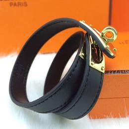Wholesale Round Bracelet Patterns - 2018Titanium steel jewelry wholesale double skin H bracelet leather round buckle bracelet leather bracelet (cross pattern - plain selection)