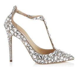Sapatas do gladiador do diamante on-line-Luxo Diamante Casamento Jeweled Sandálias Gladiador Do Salto Mulheres Strass Cristal Embellished T Strap Verão Partido Sandálias Sapatos