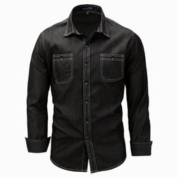 Wholesale Wash Denim Shirt - New European and American size men's long sleeve lapel shirt denim shirt wash polo