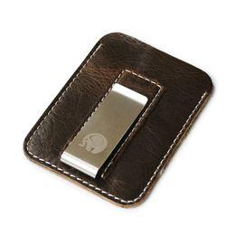 Portafoglio anteriore online-Fermasoldi per banconote da uomo frontali Fermasoldi in vera pelle vintage per porta soldi Fermasoldi in metallo rimovibile con custodia ID card