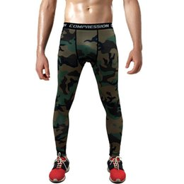 Wholesale Camouflage Leggins - Hot Sale Men's Sports Leggins Pro Compression Pants Camouflage Print High Elastic Running Tights Basketball Leggings Plus size 3XL