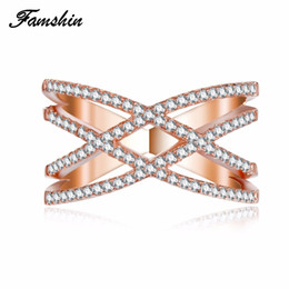 Wholesale Ring X Shape - whole saleFAMSHIN New Fashion Wedding Love Rings for Women Double Letter X Shape Ring Zirconia Micro Paved Silver Color Women Anel anillo