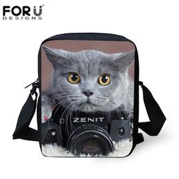 Bolsa de cámara de impresión online-FORUDESIGNS Bolso de escuela lindo Crossbody Camera Cats Impresión Satchels Niños Bolsas de hombro para niñas adolescente Messenger Totes