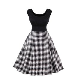 Wholesale Houndstooth Party Dress - Women's Vintage Scoop Neck Houndstooth Print Black Dress Audrey Hepburn Style Cocktail Party Dresses 50s Big Swing Short Homecoming Dresses