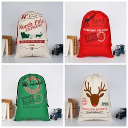 glitterband großhandel rot Rabatt 2018 Bunte Weihnachtsgeschenke Tasche Santa Sacks Weihnachtsmann Kordelzugbeutel Große Große Schwere Leinwand-Tasche Santa Claus Sack Bags