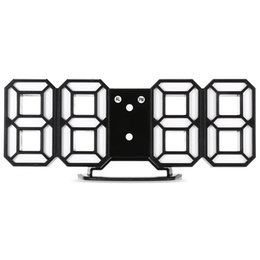 Nuevo 1PCS 3D moderno reloj de pared Digital LED mesa escritorio noche reloj de pared reloj despertador 24 o 12 horas pantalla Snooze escritorio alarma desde fabricantes