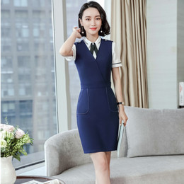 Wholesale women two piece formal set - Formal Uniform Designs Two Pieces Business Suits With Dresses And Blouse For Ladies Office Work Wear Female Blazers Sets