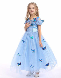 Wholesale Cinderella Halloween Costume - snowflake diamond cinderella dress 2018 fancy costumes for kids blue gown Halloween baby girl butterfly dress 5 Layers in stock
