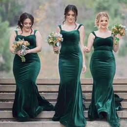 Wholesale Dark Blue Velvet Bridesmaid Dresses - Hunter Green Velvet Mermaid Bridesmaid Dresses Long Cheap Spaghetti Straps Plus Size Prom Dress Custom Made Maid Of Honor Gowns