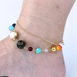 Wholesale Eight Ball - Fashion Universe Galaxy the Eight Planets in the Solar System Guardian Star Natural Stone Beads Anklets for Women & Men Gift